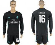 Wholesale Cheap Real Madrid #16 Kovacic Away Long Sleeves Soccer Club Jersey