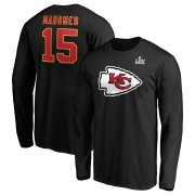 Wholesale Cheap Men's Kansas City Chiefs #15 Patrick Mahomes NFL Black Super Bowl LIV Bound Halfback Player Name & Number Long Sleeve T-Shirt