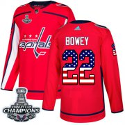 Wholesale Cheap Adidas Capitals #22 Madison Bowey Red Home Authentic USA Flag Stanley Cup Final Champions Stitched NHL Jersey