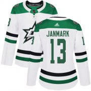 Cheap Adidas Stars #13 Mattias Janmark White Road Authentic Women's Stitched NHL Jersey