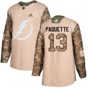 Cheap Adidas Lightning #13 Cedric Paquette Camo Authentic 2017 Veterans Day Youth Stitched NHL Jersey