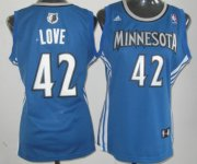 Wholesale Cheap Minnesota Timberwolves #42 Kevin Love Blue Womens Jersey