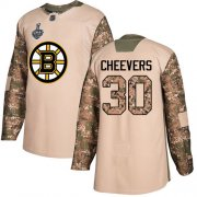 Wholesale Cheap Adidas Bruins #30 Gerry Cheevers Camo Authentic 2017 Veterans Day Stanley Cup Final Bound Stitched NHL Jersey