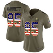 Wholesale Cheap Nike Browns #95 Myles Garrett Olive/USA Flag Women's Stitched NFL Limited 2017 Salute to Service Jersey