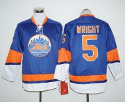 Wholesale Cheap Mets #5 David Wright Blue Long Sleeve Stitched MLB Jersey