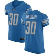 Wholesale Cheap Nike Lions #30 Jeff Okudah Blue Team Color Men's Stitched NFL Vapor Untouchable Elite Jersey