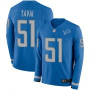 Wholesale Cheap Nike Lions #51 Jahlani Tavai Blue Team Color Men's Stitched NFL Limited Therma Long Sleeve Jersey