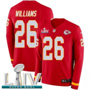 Wholesale Cheap Nike Chiefs #26 Damien Williams Red Super Bowl LIV 2020 Team Color Men's Stitched NFL Limited Therma Long Sleeve Jersey