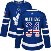 Wholesale Cheap Adidas Maple Leafs #34 Auston Matthews Blue Home Authentic USA Flag Women's Stitched NHL Jersey