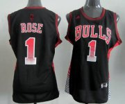 Wholesale Cheap Chicago Bulls #1 Derrick Rose Vibe Black Fashion Womens Jersey