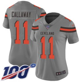 Wholesale Cheap Nike Browns #11 Antonio Callaway Gray Women\'s Stitched NFL Limited Inverted Legend 100th Season Jersey