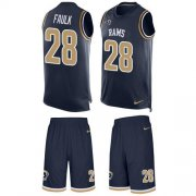 Wholesale Cheap Nike Rams #28 Marshall Faulk Navy Blue Team Color Men's Stitched NFL Limited Tank Top Suit Jersey