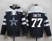 Wholesale Cheap Nike Cowboys #77 Tyron Smith Navy Blue Player Pullover NFL Hoodie