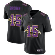 Wholesale Cheap Baltimore Ravens #15 Marquise Brown Men's Nike Team Logo Dual Overlap Limited NFL Jersey Black