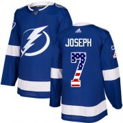 Cheap Adidas Lightning #7 Mathieu Joseph Blue Home Authentic USA Flag Stitched NHL Jersey