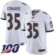Wholesale Cheap Nike Ravens #35 Gus Edwards White Men's Stitched NFL 100th Season Vapor Untouchable Limited Jersey