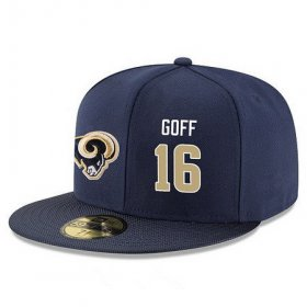 Wholesale Cheap Los Angeles Rams #16 Jared Goff Snapback Cap NFL Player Navy Blue with Gold Number Stitched Hat