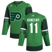 Wholesale Cheap Philadelphia Flyers #11 Travis Konecny Men's Adidas 2020 St. Patrick's Day Stitched NHL Jersey Green
