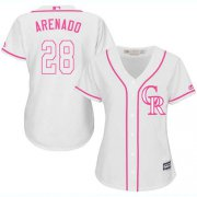 Wholesale Cheap Rockies #28 Nolan Arenado White/Pink Fashion Women's Stitched MLB Jersey