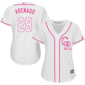 Wholesale Cheap Rockies #28 Nolan Arenado White/Pink Fashion Women\'s Stitched MLB Jersey