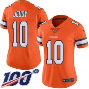 Wholesale Cheap Nike Broncos #10 Jerry Jeudy Orange Women's Stitched NFL Limited Rush 100th Season Jersey