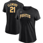 Wholesale Cheap Pittsburgh Pirates #21 Roberto Clemente Nike Women's Cooperstown Collection Name & Number T-Shirt Black