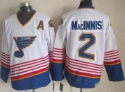 Wholesale Cheap Blues #2 Al MacInnis White/Light Blue CCM Throwback Stitched NHL Jersey