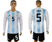 Wholesale Cheap Argentina #5 Gago Home Long Sleeves Soccer Country Jersey