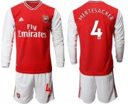 Wholesale Cheap Arsenal #4 Mertesacker Red Home Long Sleeves Soccer Club Jersey