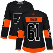 Wholesale Cheap Adidas Flyers #61 Justin Braun Black Alternate Authentic Women's Stitched NHL Jersey