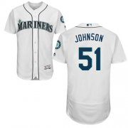 Wholesale Cheap Mariners #51 Randy Johnson White Flexbase Authentic Collection Stitched MLB Jersey