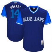 "Wholesale Cheap Blue Jays #14 Justin Smoak Navy ""Moakey"" Players Weekend Authentic Stitched MLB Jersey"