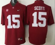 Wholesale Cheap Men's Alabama Crimson Tide #15 JK Scott Red 2016 Playoff Diamond Quest College Football Nike Limited Jersey