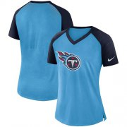 Wholesale Cheap Women's Tennessee Titans Nike Light Blue-Navy Top V-Neck T-Shirt