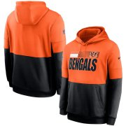 Wholesale Cheap Cincinnati Bengals Nike Sideline Impact Lockup Performance Pullover Hoodie Orange Black