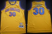 Wholesale Cheap San Francisco Warriors #30 Stephen Curry ABA Hardwood Classic Swingman Yellow Jersey