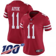 Wholesale Cheap Nike 49ers #11 Brandon Aiyuk Red Team Color Women's Stitched NFL 100th Season Vapor Untouchable Limited Jersey