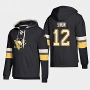 Wholesale Cheap Pittsburgh Penguins #12 Dominik Simon Black adidas Lace-Up Pullover Hoodie