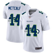 Wholesale Cheap Seattle Seahawks #14 DK Metcalf White Men's Nike Team Logo Dual Overlap Limited NFL Jersey