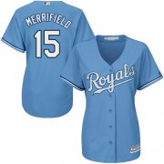Wholesale Cheap Royals #15 Whit Merrifield Light Blue Alternate Women's Stitched MLB Jersey