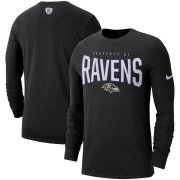 Wholesale Cheap Baltimore Ravens Nike Sideline Property Of Performance Long Sleeve T-Shirt Black