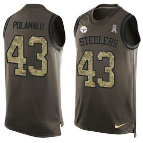Wholesale Cheap Nike Steelers #43 Troy Polamalu Green Men\'s Stitched NFL Limited Salute To Service Tank Top Jersey