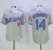 Wholesale Cheap Dodgers #14 Enrique Hernandez Grey Flexbase Authentic Collection Road Stitched MLB Jersey