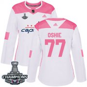 Wholesale Cheap Adidas Capitals #77 T.J. Oshie White/Pink Authentic Fashion Stanley Cup Final Champions Women's Stitched NHL Jersey
