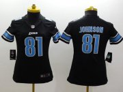Wholesale Nike Lions #81 Calvin Johnson Black Alternate Women's Stitched NFL Limited Jersey