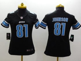 Wholesale Cheap Nike Lions #81 Calvin Johnson Black Alternate Women\'s Stitched NFL Limited Jersey