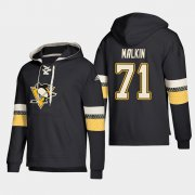 Wholesale Cheap Pittsburgh Penguins #71 Evgeni Malkin Black adidas Lace-Up Pullover Hoodie