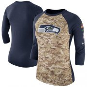 Wholesale Cheap Women's Seattle Seahawks Nike Camo Navy Salute to Service Legend Three-Quarter Raglan Sleeve T-Shirt