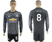 Wholesale Cheap Manchester United #8 Mata Black Long Sleeves Soccer Club Jersey