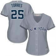 Wholesale Cheap Yankees #25 Gleyber Torres Grey Road Women's Stitched MLB Jersey